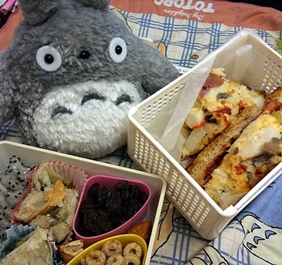 Totoro & Pizza Bread Bento (400th Post!)