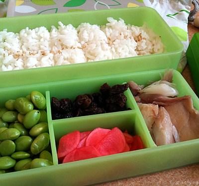 Miso-Marinated Fish, Pickled Radish Onigiri Bentos