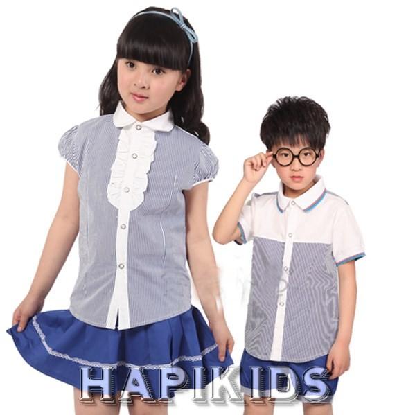 Белая и синяя школьная форма: