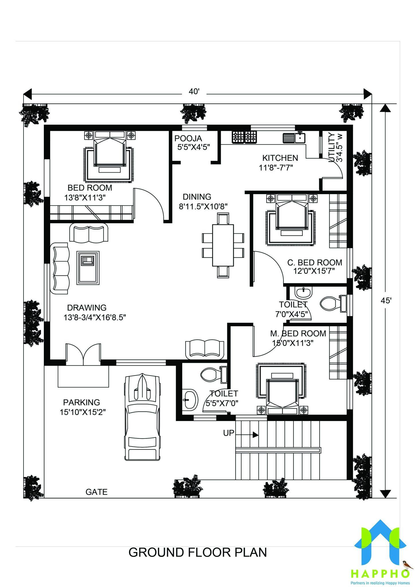 Floor Plan For 40 X 45 Feet Plot
