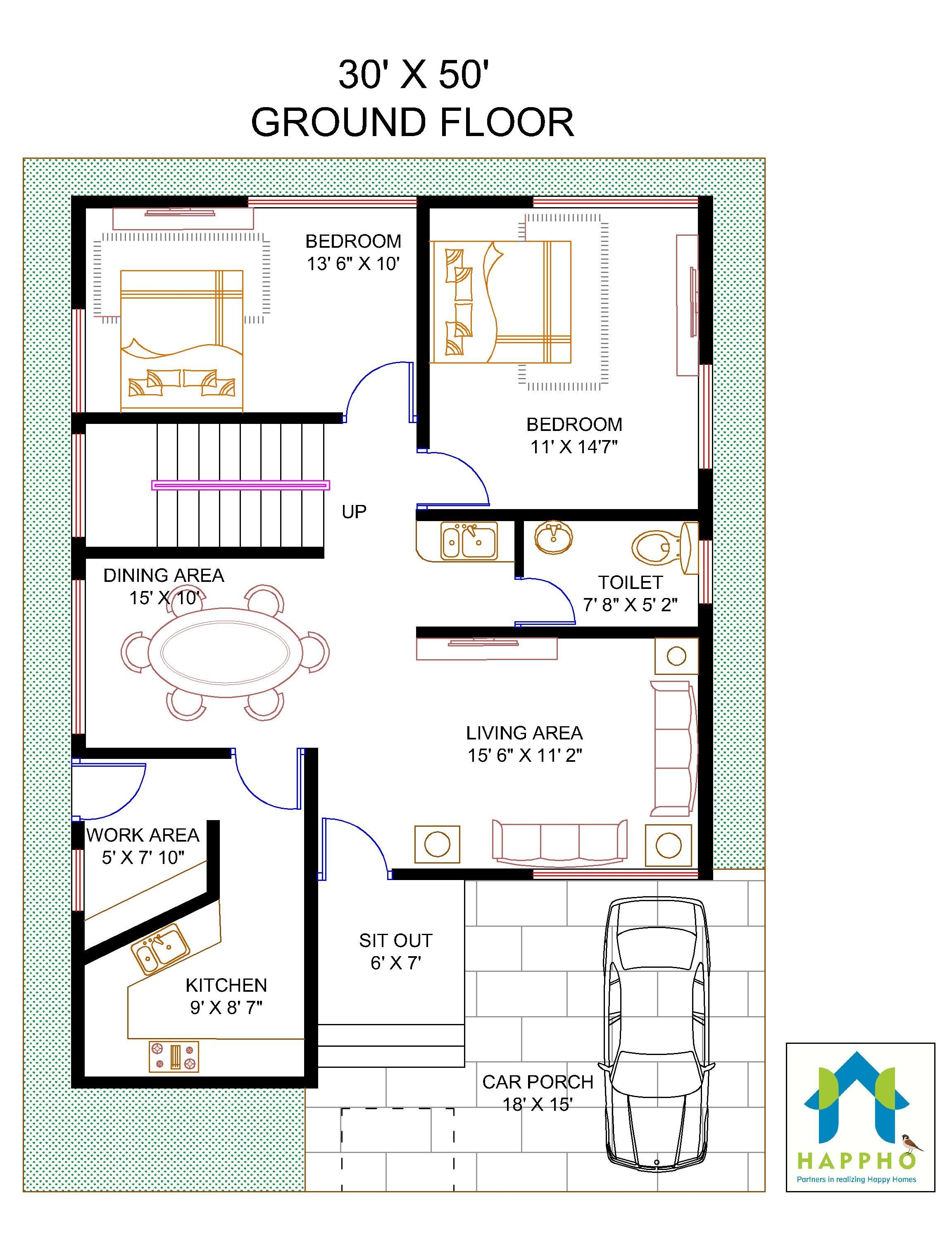 Floor Plan For 30 X 50 Feet Plot 4 BHK1500 Square Feet