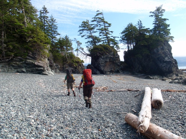 Hiking between headlands on the Nootka Trail