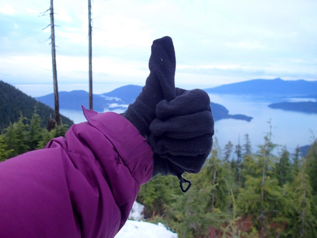Thumbs up for winter hiking