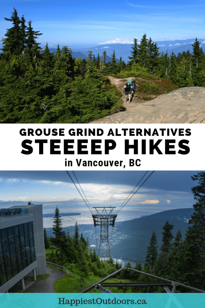 "Steep workout hikes near Vancouver, BC, Canada. Many people hike the Grouse Grind, but there are 15 other steep ""grind""-like trails near Vancouver. In fact, many Vancouver suburbs have their own alternatives to the Grouse Grind. #hiking #Vancouver #GrouseGrind #BritishColumbia #Canada"
