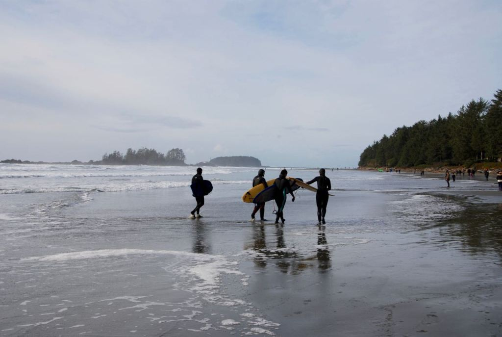 Surfers on Chesterman Beach in Tofino