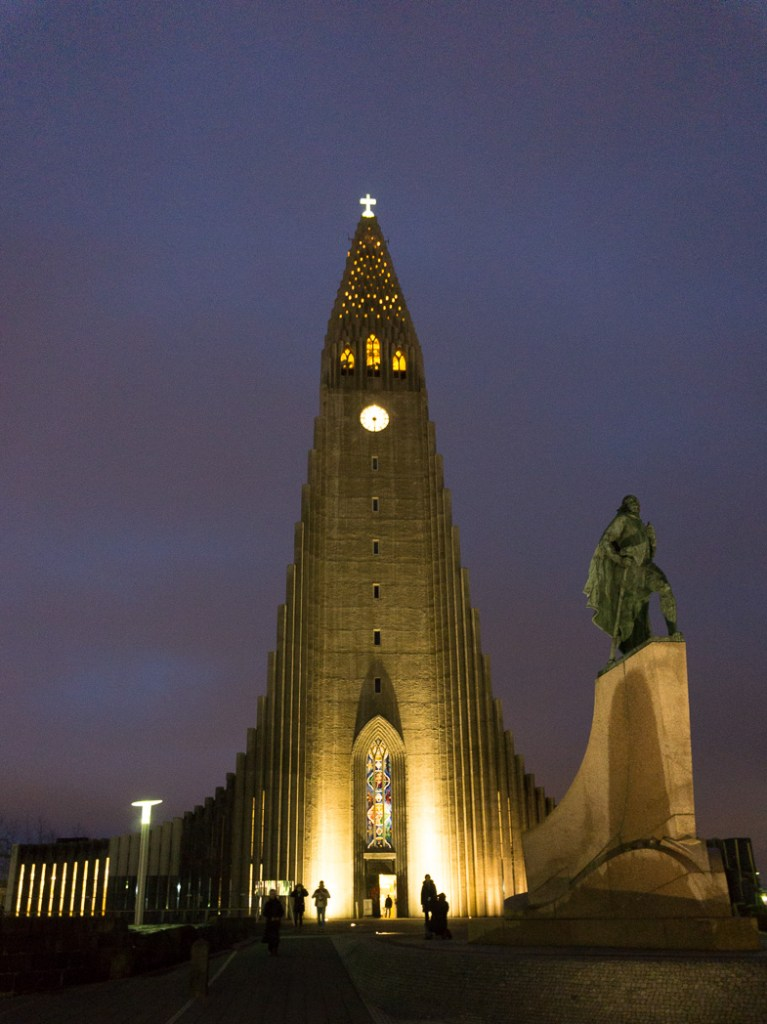 Hallgrimskirkja just before dawn in January. A winter week in Iceland. Iceland in January. 35 Photos that will make you want to go to Iceland in winter.