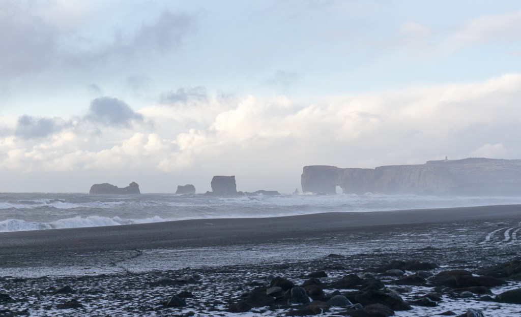 Reynisfjara black sand beach in winter. A winter week in Iceland. Iceland in January. 35 Photos that will make you want to go to Iceland in winter.