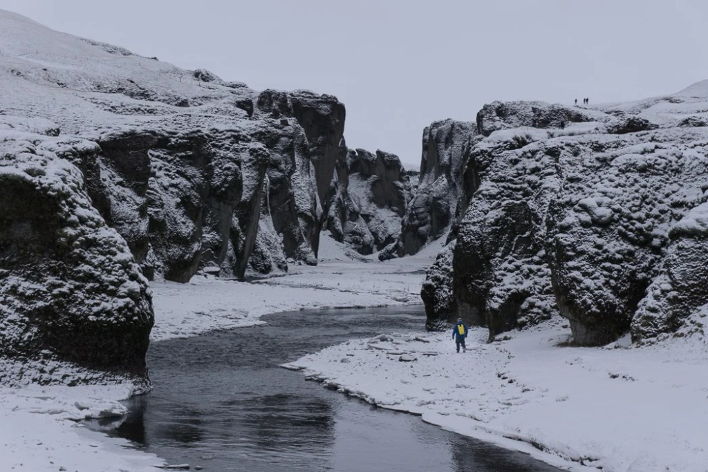 Fjaðrárgljúfur canyon in winter. A winter week in Iceland. Iceland in January. 35 Photos that will make you want to go to Iceland in winter.