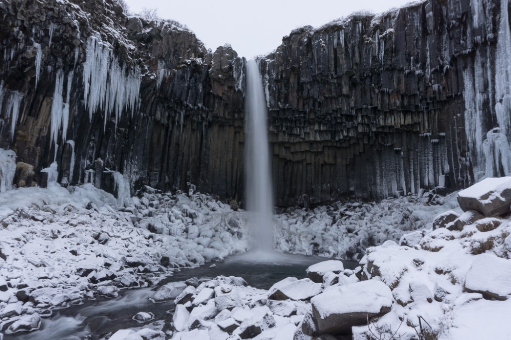 Svartifoss in winter. A winter week in Iceland. Iceland in January. 35 Photos that will make you want to go to Iceland in winter.