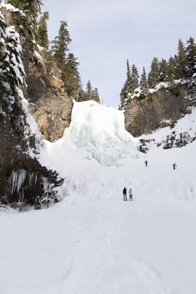 Alexander Falls in the Callaghan Valley near Whistler. Find out how to snowshoe here in the Ultimate Guide to Snowshoeing in Whistler, BC, Canada.