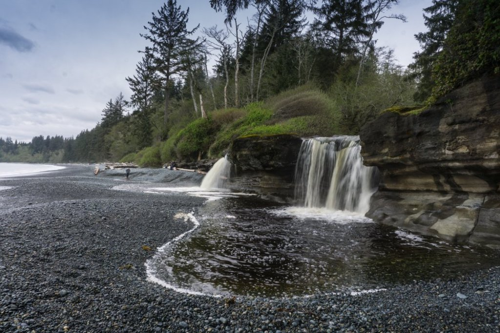 Sandcut Falls is a short hike from the Pacific Marine Circle Route on Vancouver Island.