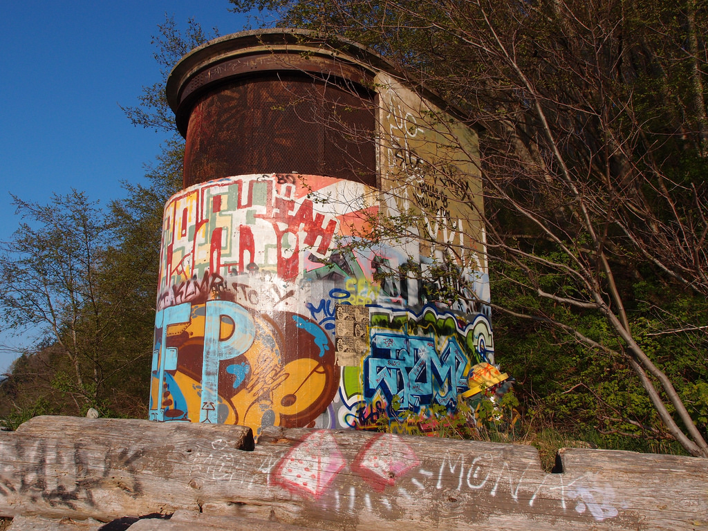 Abandoned WWII light tower at Tower Beach near UBC. Just one of 15 unusual hikes near Vancouver.