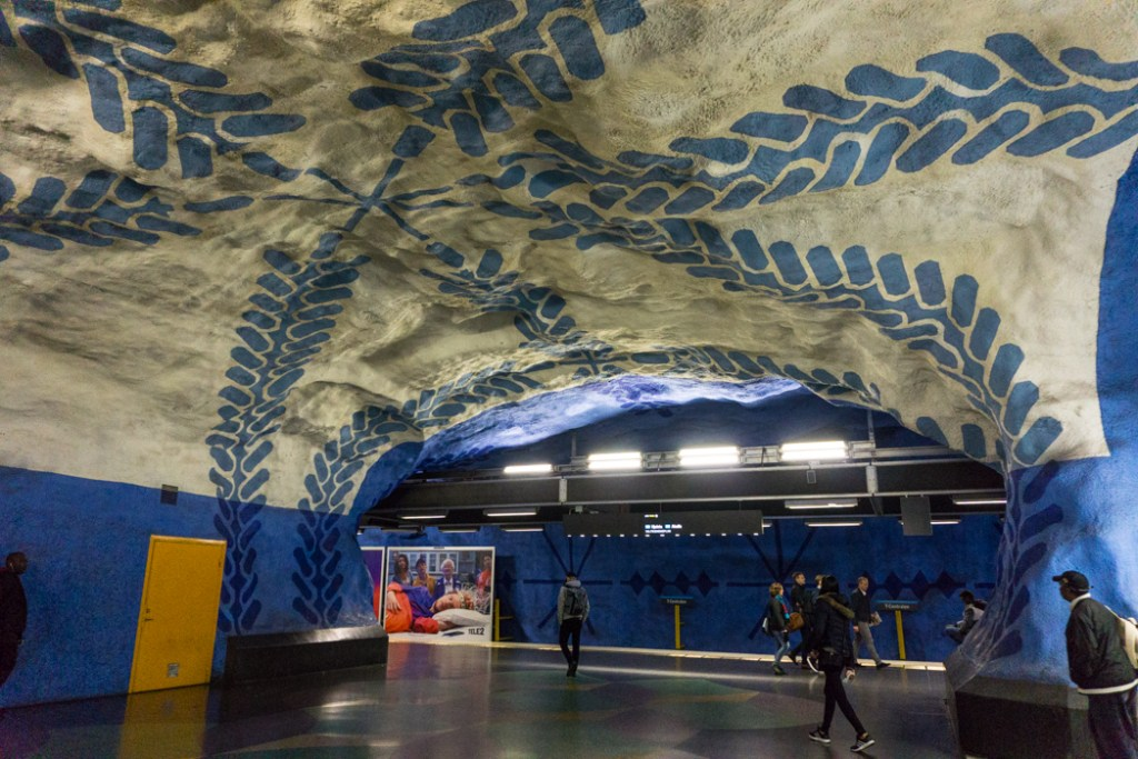 Art at T-Centralen Station on the Stockholm subway. Find out how to visit this station and 11 others on a self-guided tour of Stockholm subway art.