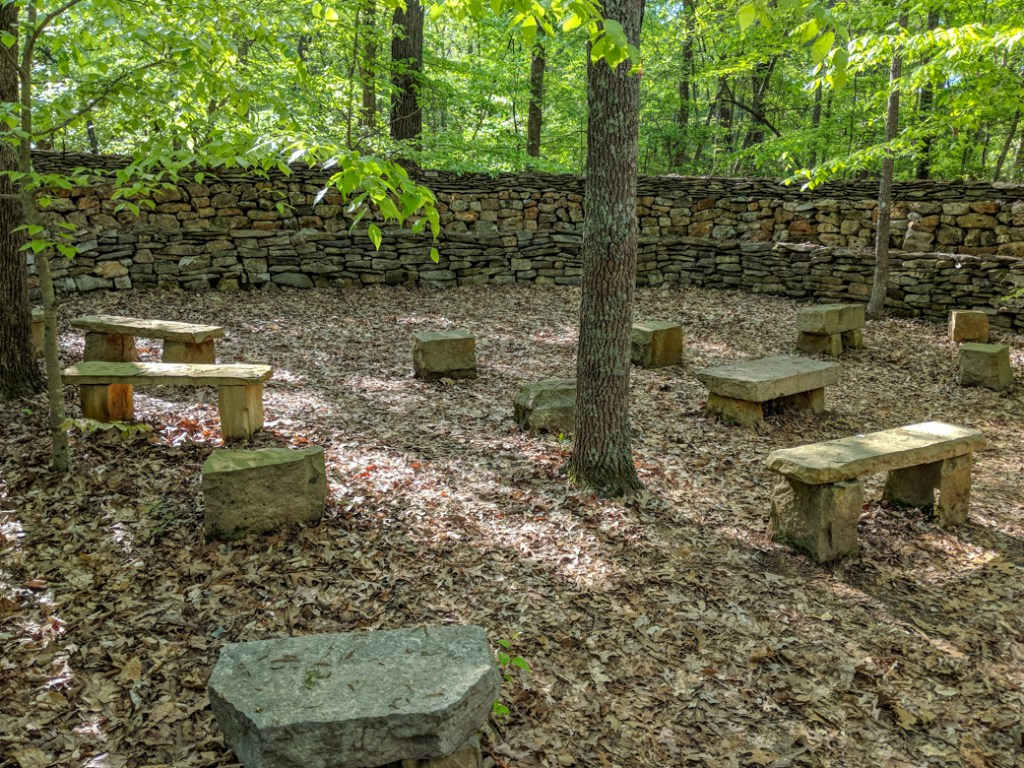 Wichahpi Commemorative Stone Wall near the Natchez Trace. Learn how to cycle tour the Natchez Trace Parkway in this detailed guide.