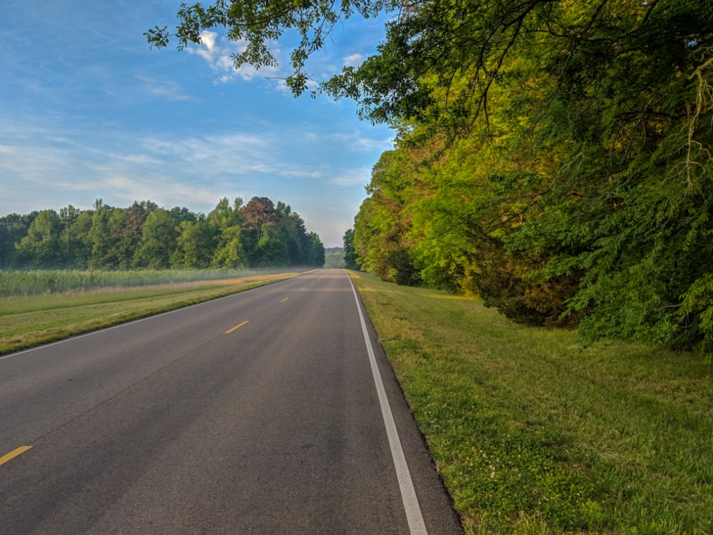 An empty road along the Natchez Trace. Learn how to cycle tour the Natchez Trace Parkway in this detailed guide.
