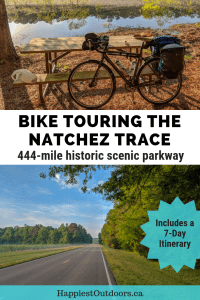 Bike touring the Natchez Trace. Cycle tour this historic route in a National Park. Includes a detailed itinerary for biking the 444 mile route along the Natchez Trace Parkway. #biking #USA #cycling #NatchezTrace