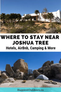 Best places to stay near Joshua Tree California. Includes hotels, Airbnbs, camping and more. #JoshuaTree #California