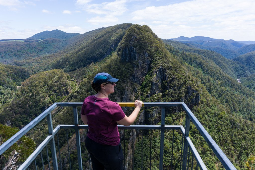 A hiker at the Leven Canyon viewpoint in Tasmania
