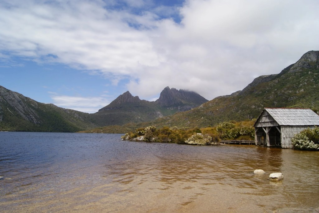 The boathouse at Dove Lake in Cradle Mountain National Park. Just one of over 40 things to do in Devonport and Tasmania's North West.