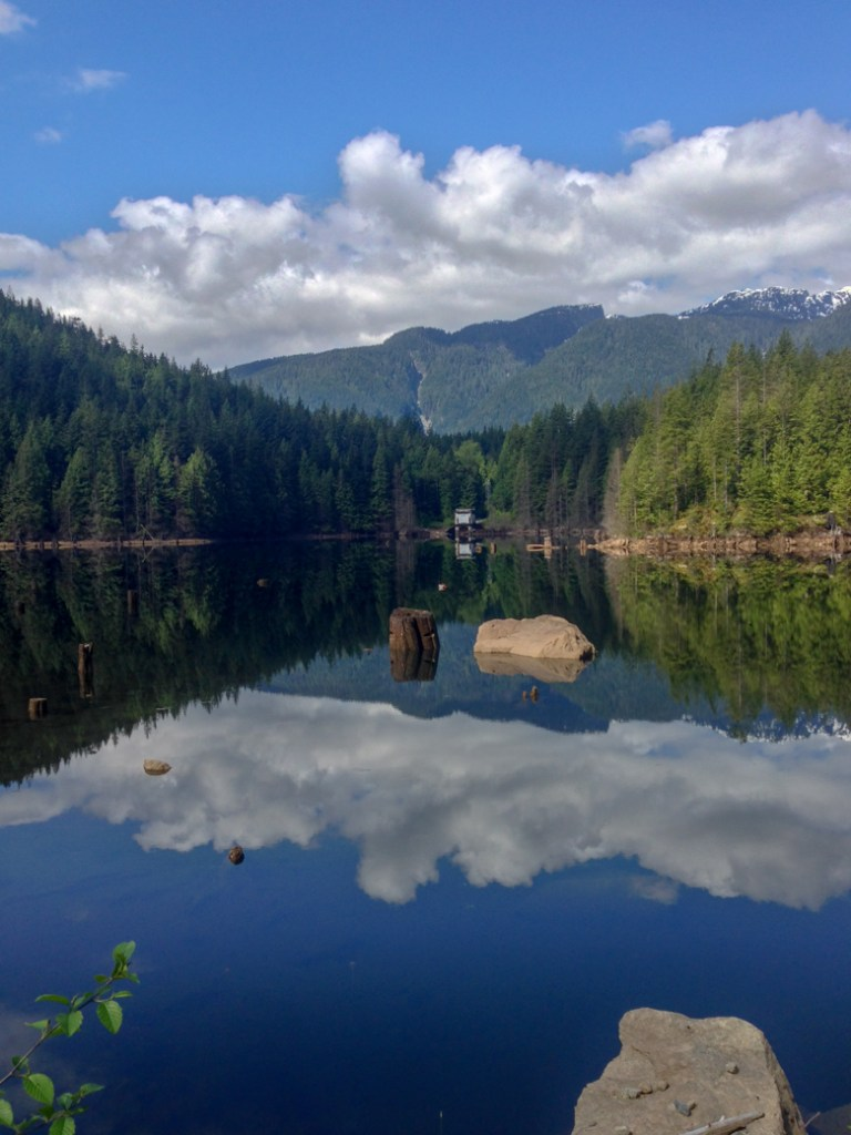 Buntzen Lake in Coquitlam. You can take the bus there from Vancouver