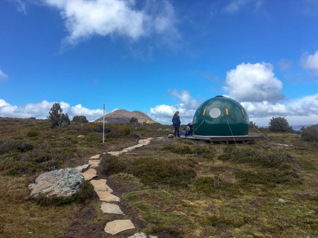 An emergency shelter on the first Overland Track section from Ronny Creek to Waterfall Valley
