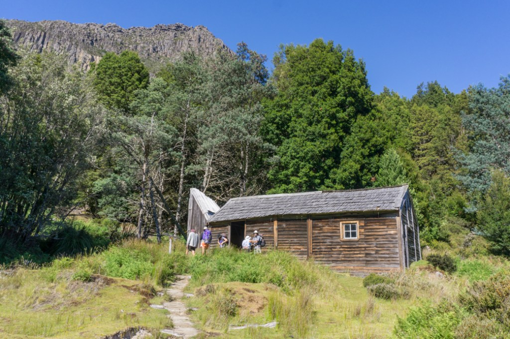 Historic Du Cane Hut. This is one of the historic Overland Track huts that walkers cannot sleep in since it is a museum.