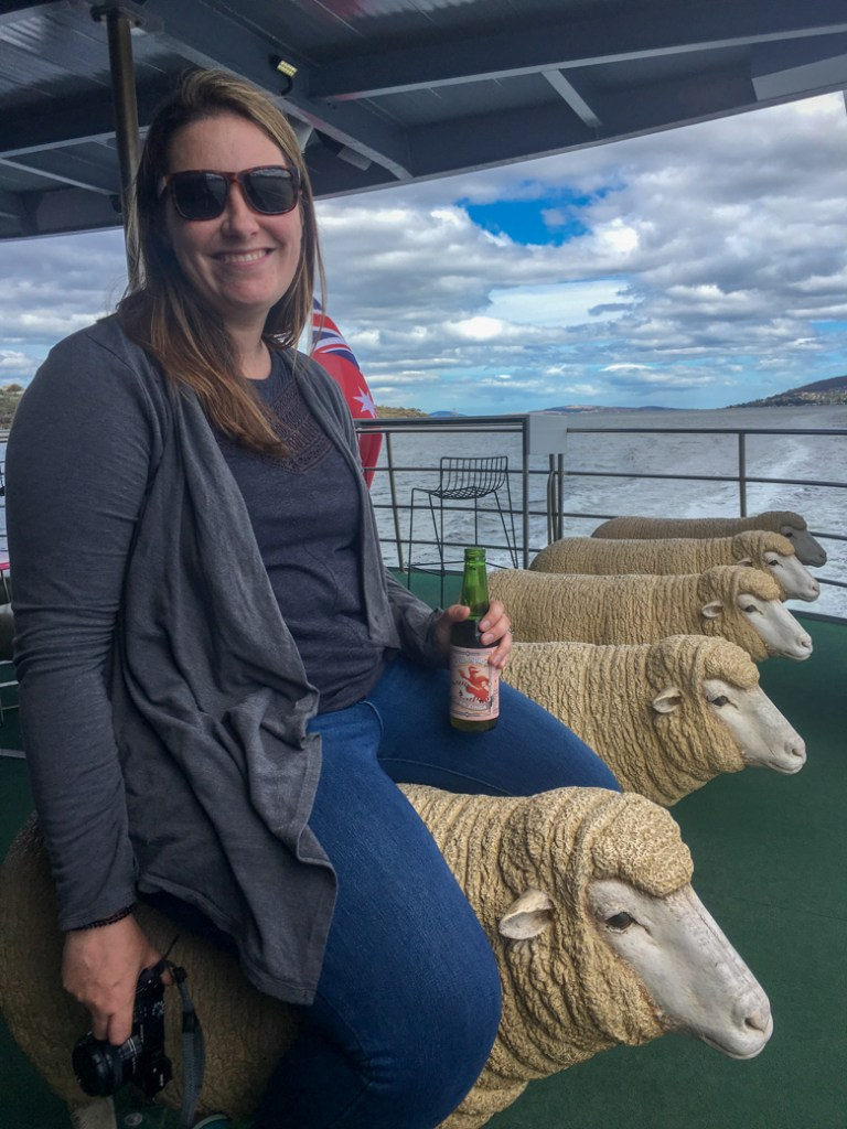 You can sit on a sheep sculpture on the ferry ride to MONA in Hobart, Tasmania