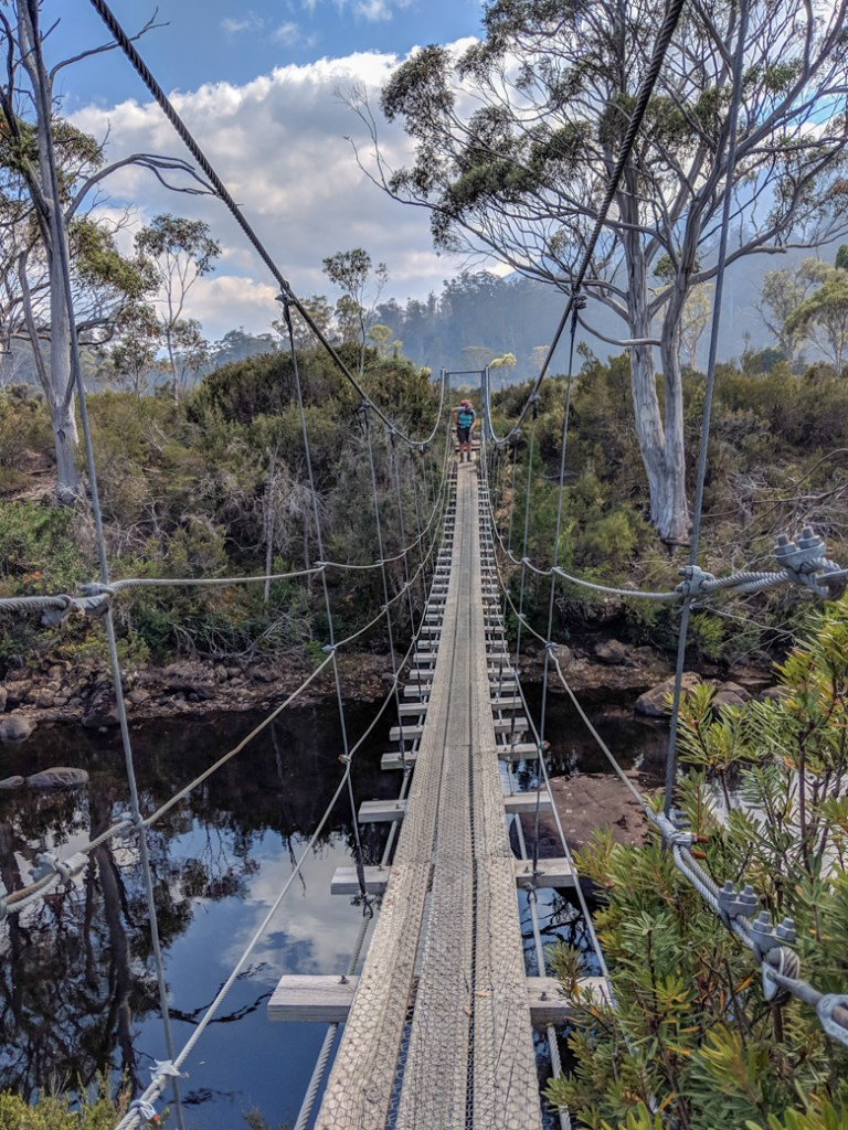 The suspension bridge over the Narcissus River on the 6th Overland Track section from Windy Ridge to Narcissus