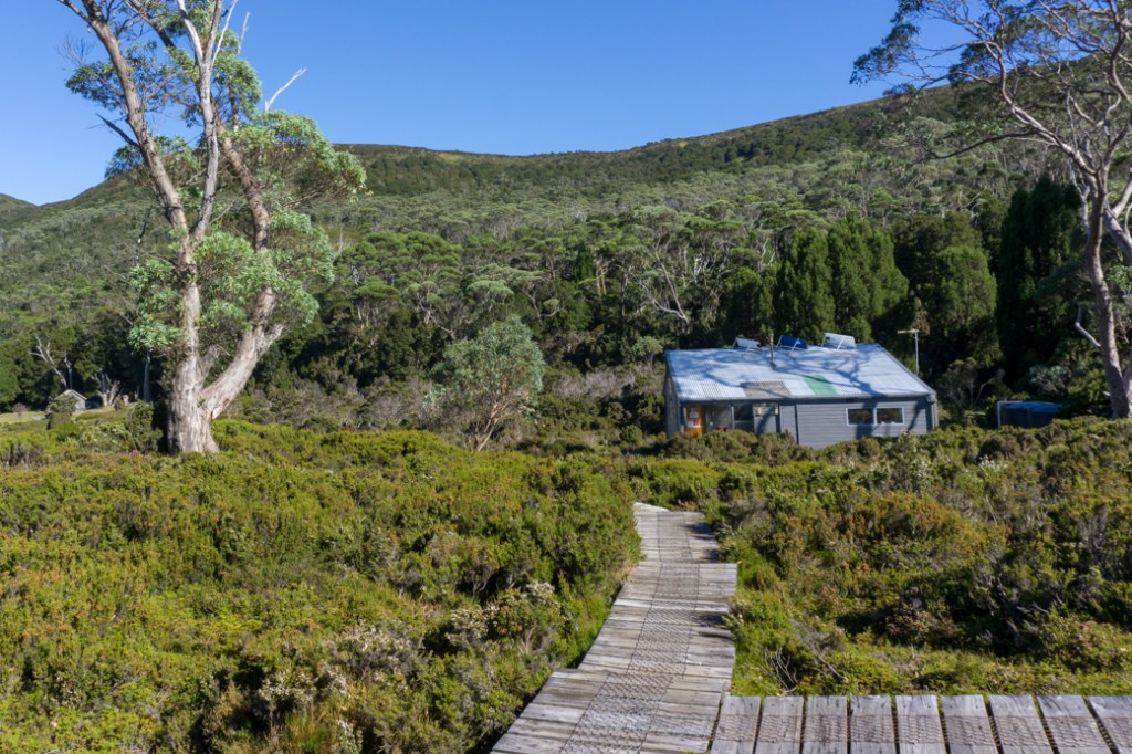 Old Waterfall Valley Hut, one of the Overland Track huts that self-guided walkers can stay in
