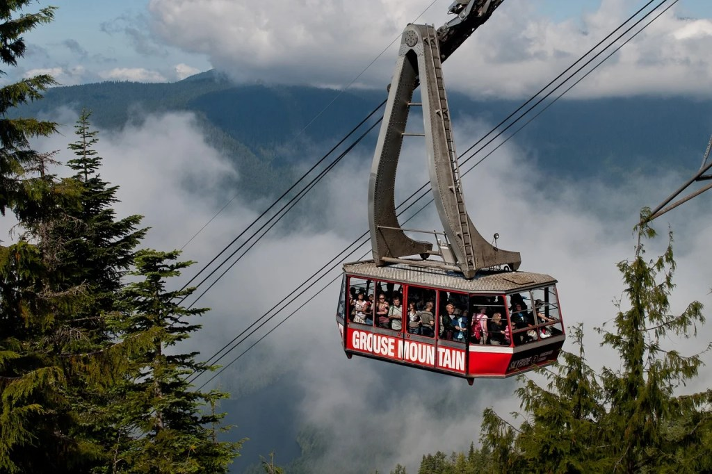 The Grouse Mountain Gondola. You can get to Grouse Mountain from Vancouver on transit.