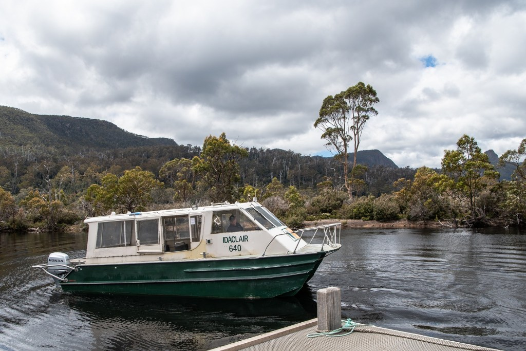 The Lake St Clair ferry goes from Narcissus to Cynthia Bay at the end of the Overland Track