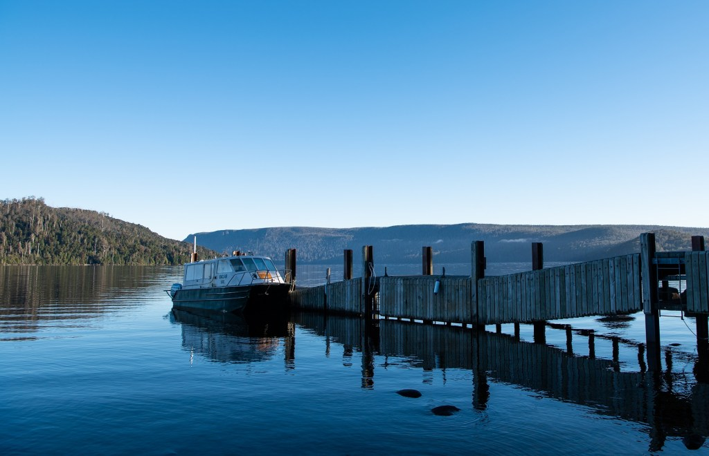 Lake St Clair ferry jetty at the end of the Overland Track