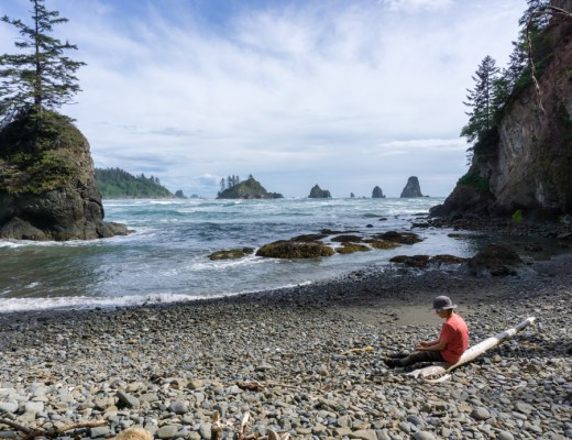 A view of the seastacks at Toleak Point from Taylor Point in Olympic National Park
