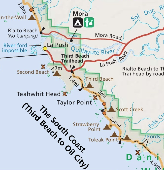 Map of the hike from Third Beach to Toleak Point in Olympic National Park.