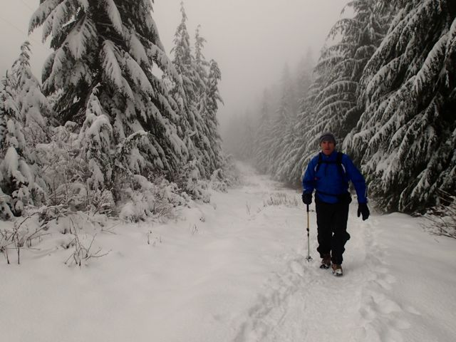 Snowshowing at Hollyburn Peak in West Vancouver. One of the adventures included in the book Active Vancouver by Roy Jantzen.