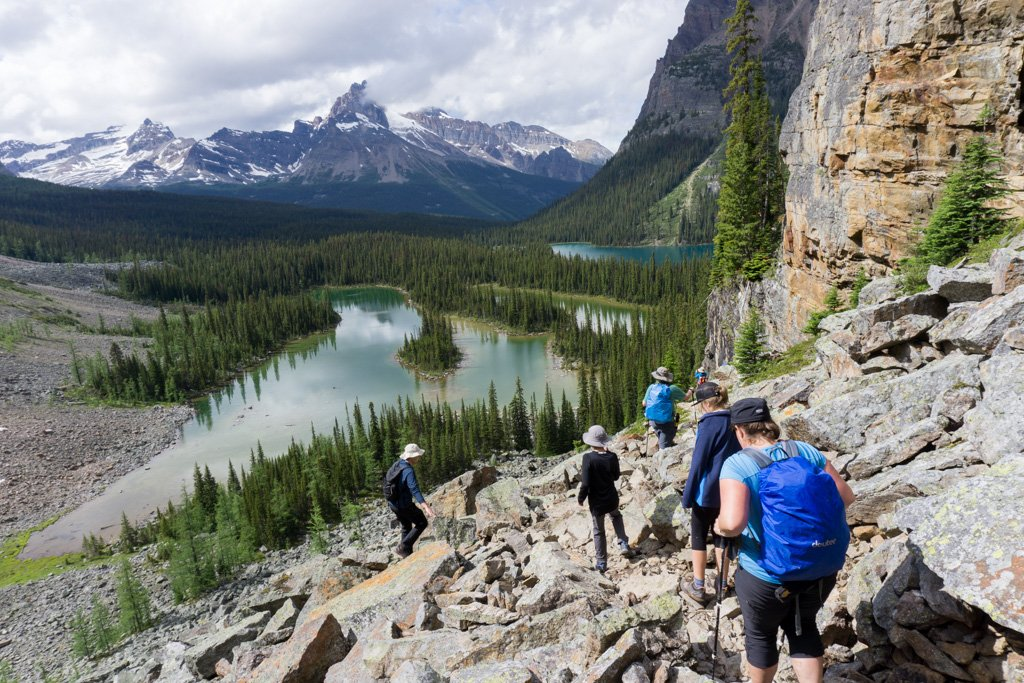 Hikers on the East Opabin Trail at Lake O'Hara in Yoho National Park