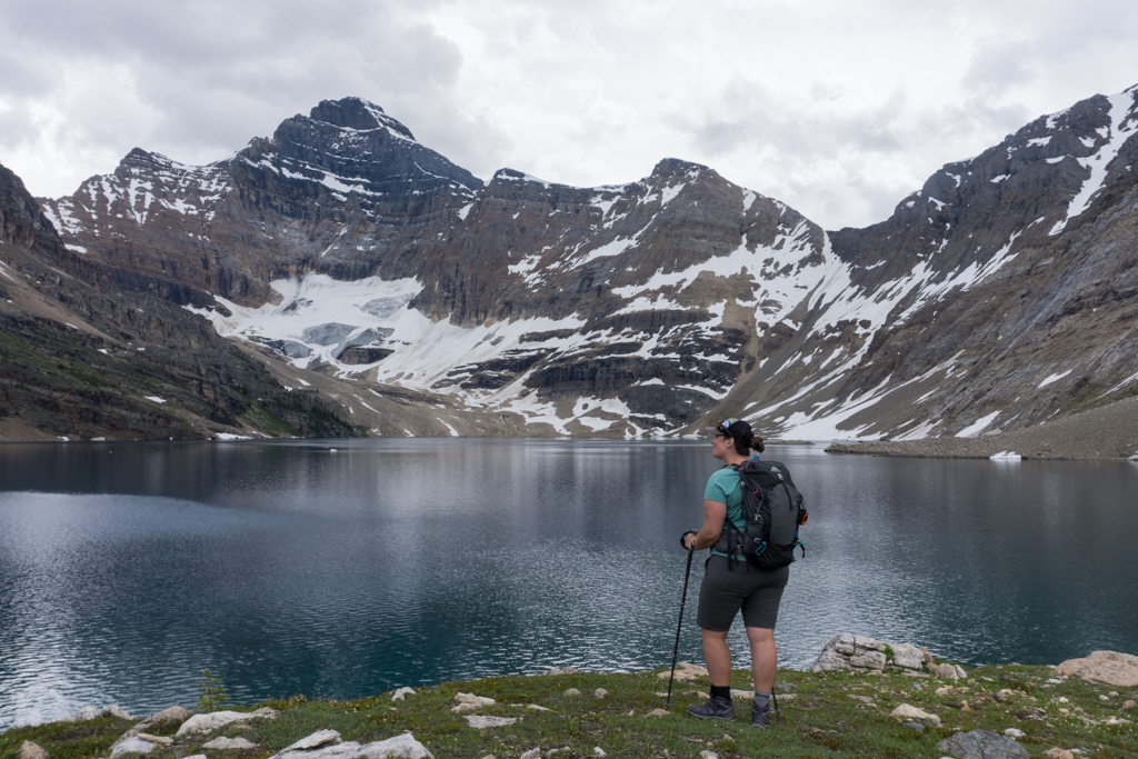 A hiker at Lake McArthur near Lake O'Hara in Yoho National Park