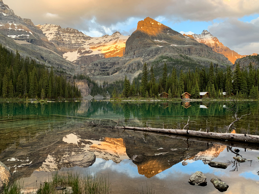 Evening alpenglow at Lake O'Hara in Yoho National Park
