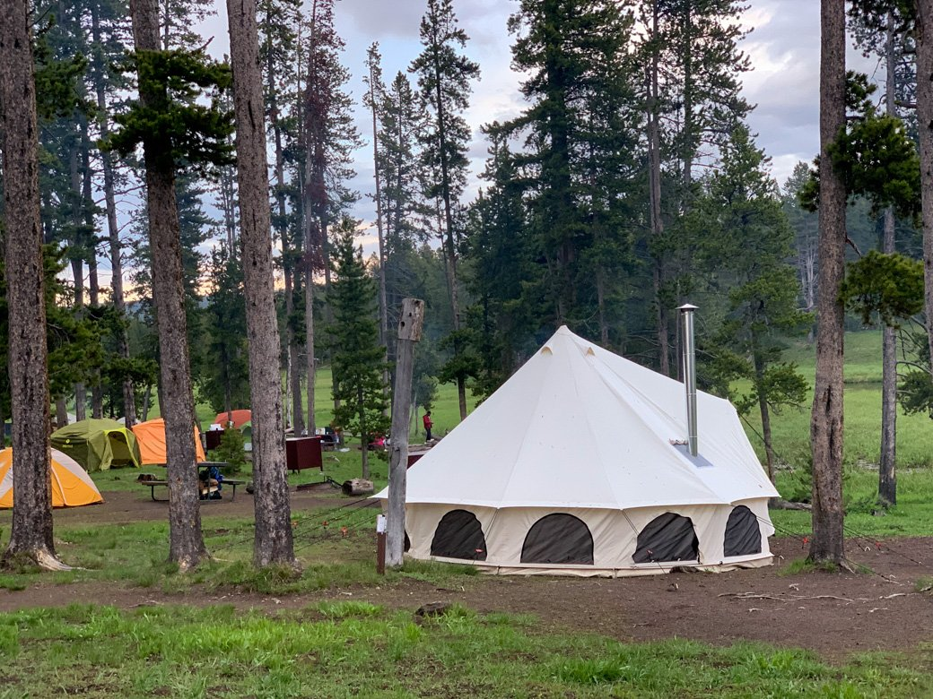 Tents at the Norris Campground in Yellowstone National Park