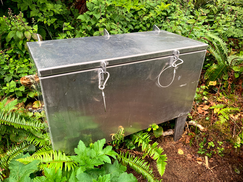 A metal food locker at a campground on the West Coast Trail