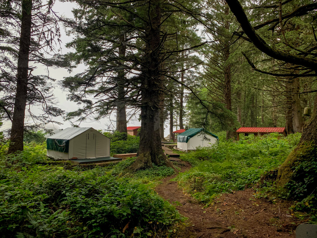 Ditidaht Nation comfort camping wall tents and cabins at Tsuquadra Point on the West Coast Trail