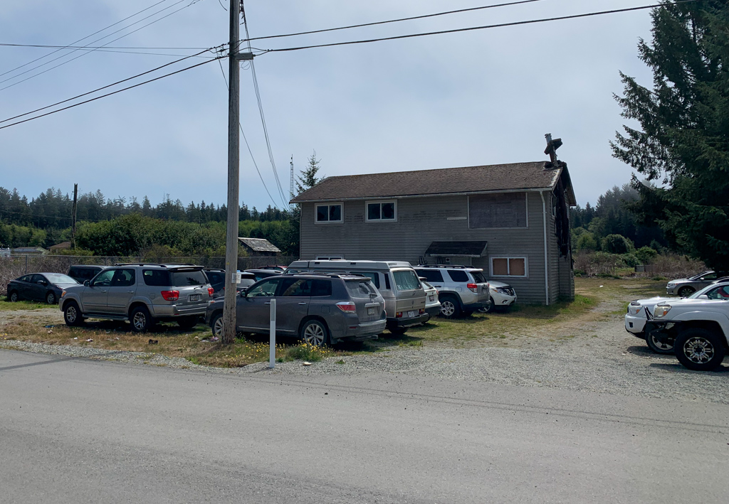 Hikers' cars parked near the Gordon River/Port Renfrew trailhead for the West Coast Trail
