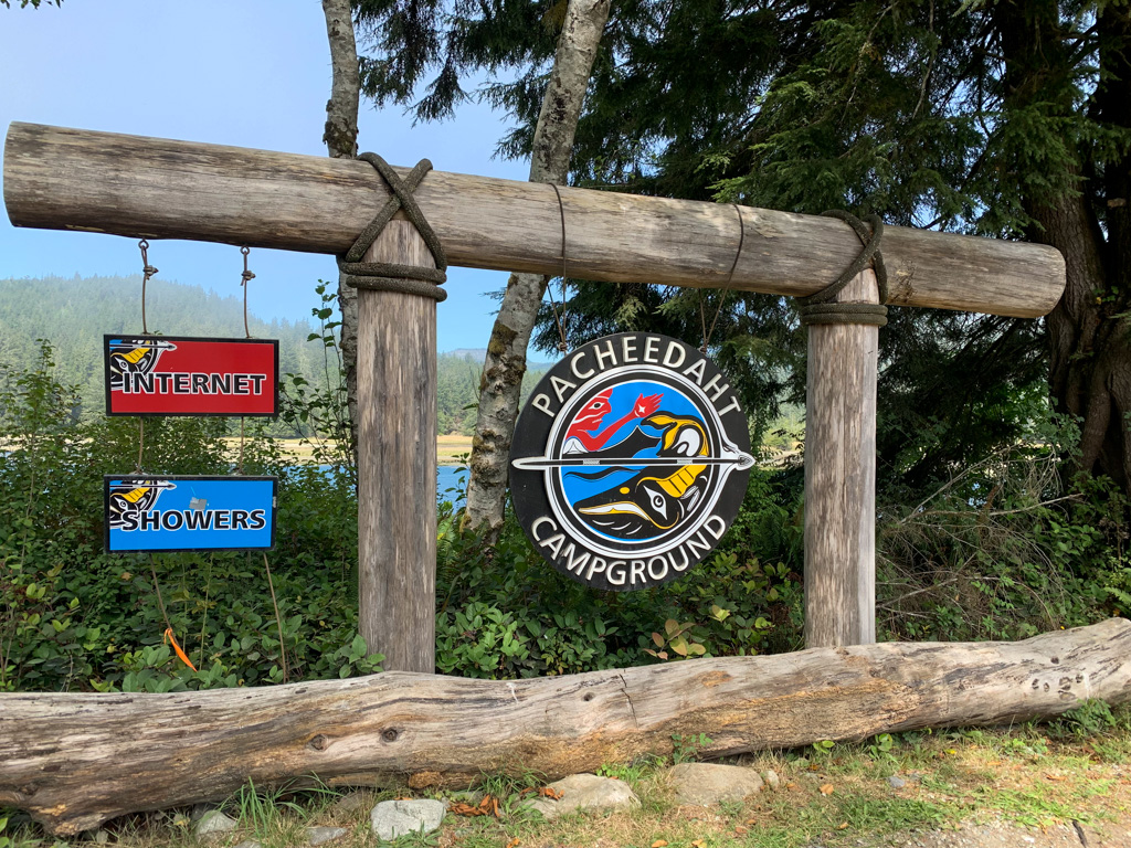 The sign for the Pacheedaht Campground near the Gordon River trailhead for the West Coast Trail near Port Renfrew, BC
