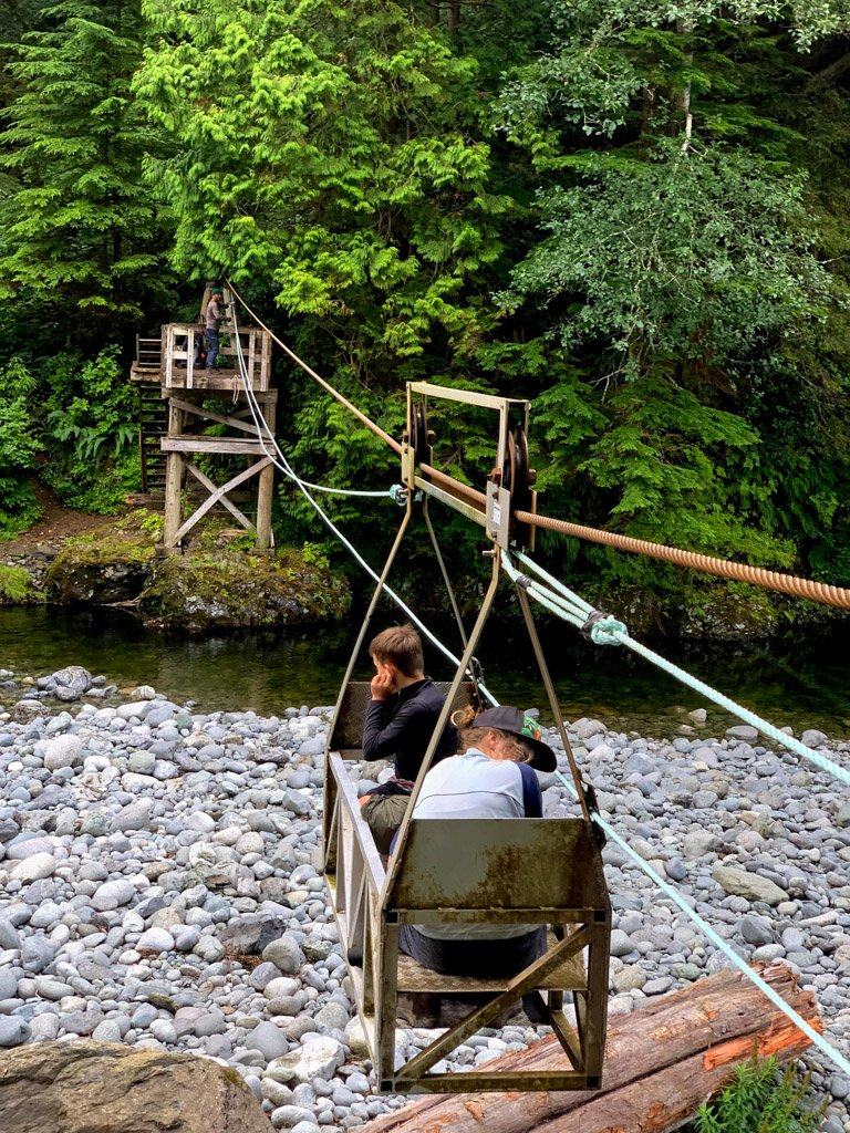 Two hikers ride the Camper Creek cable car on the West Coast Trail