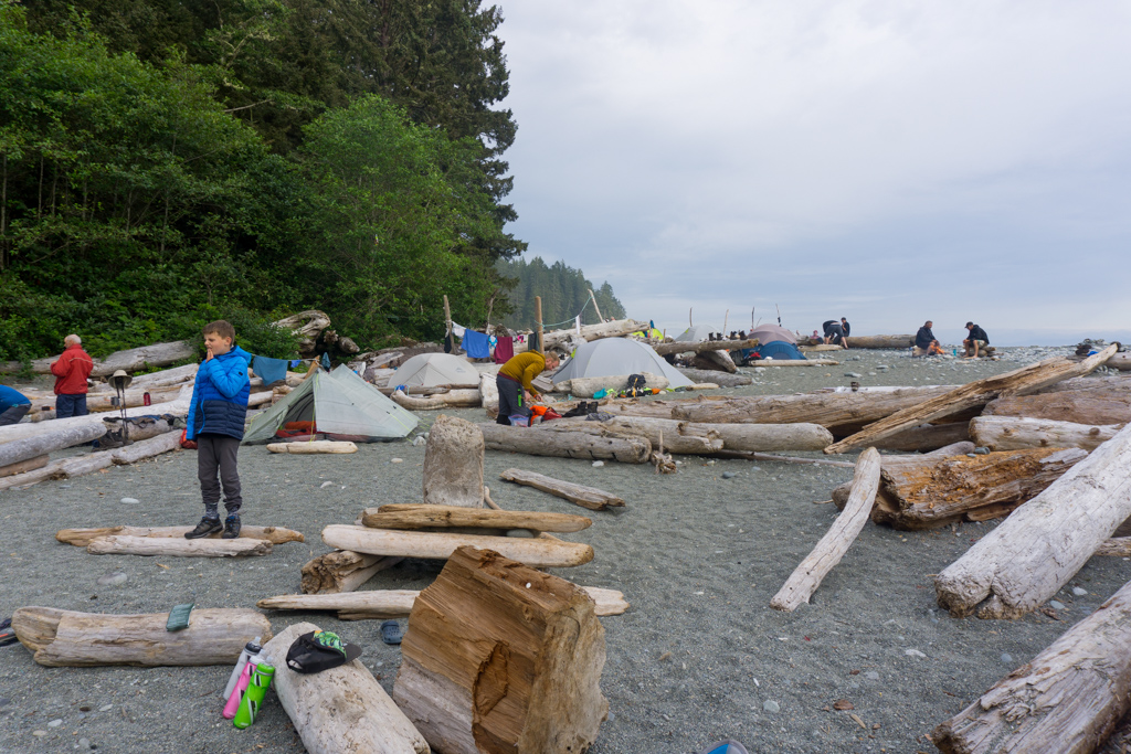 Hikers tents at Walbran Creek on the West Coast Trail