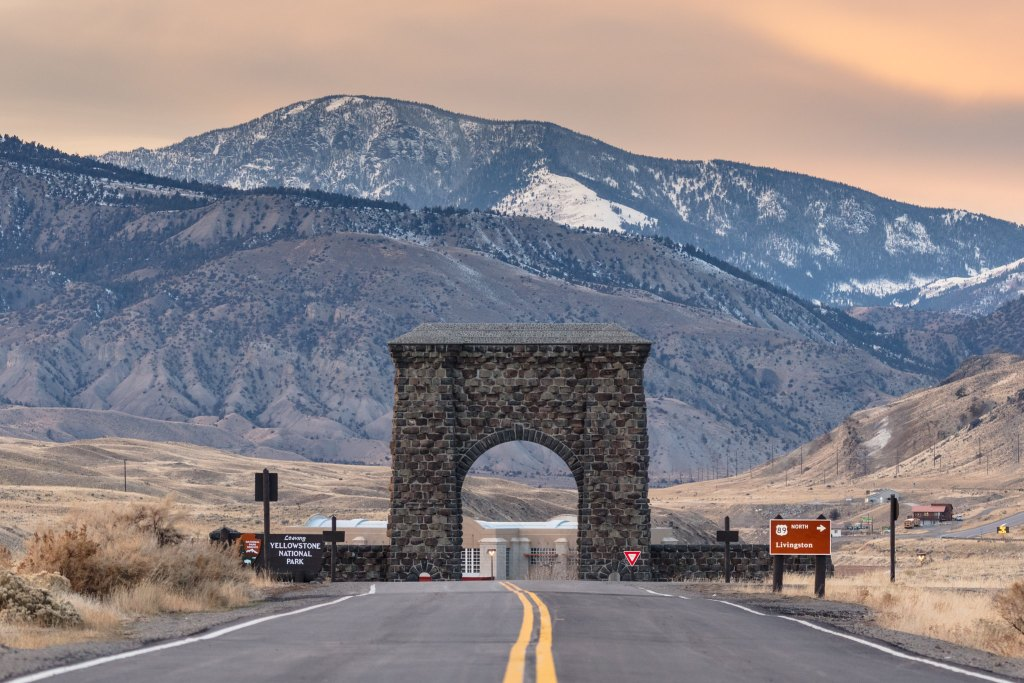 Roosevelt Arch at the north entrance to Yellowstone