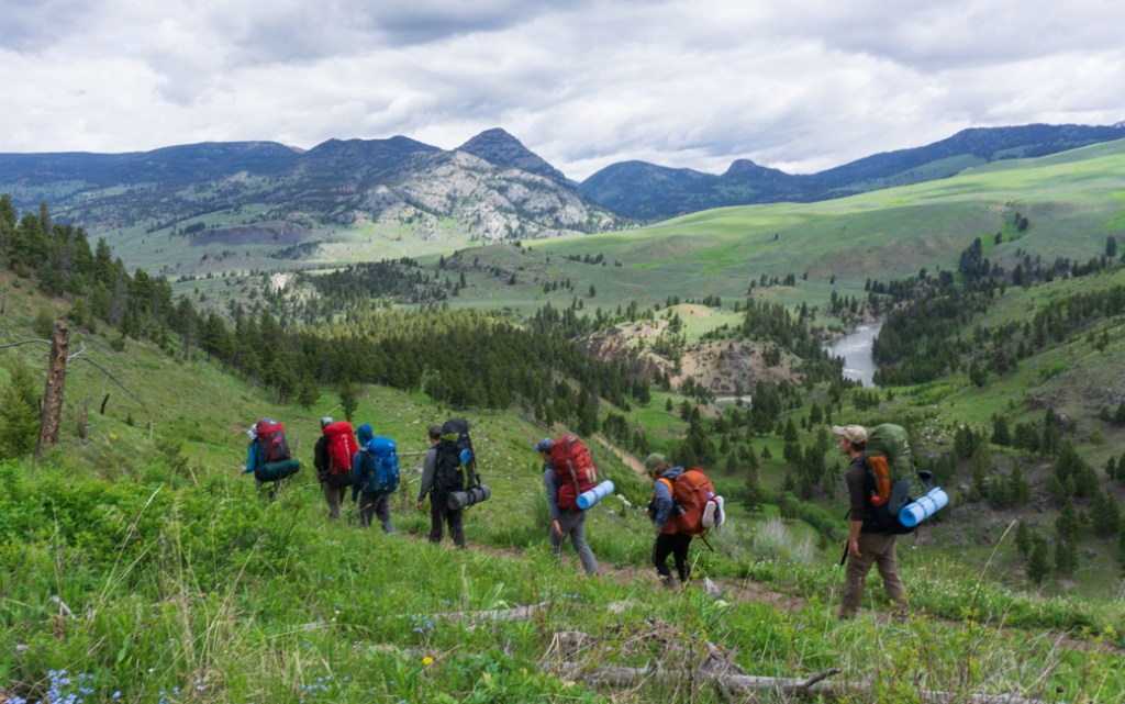 Hikers on Hikers on the Yellowstone River Trail in Yellowstone National Park