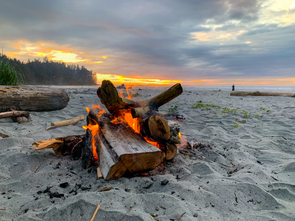 Campfire and sunset on the beach on Vancouver Island
