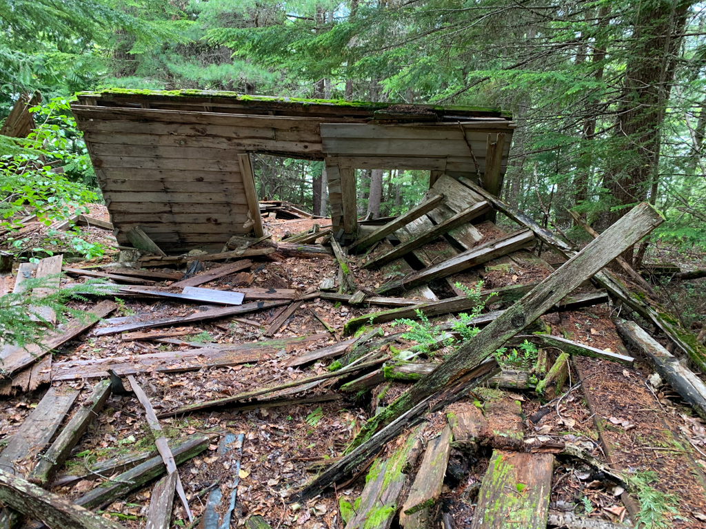 Collapsed building at Parkhurst Ghost Town in British Columbia, Canada