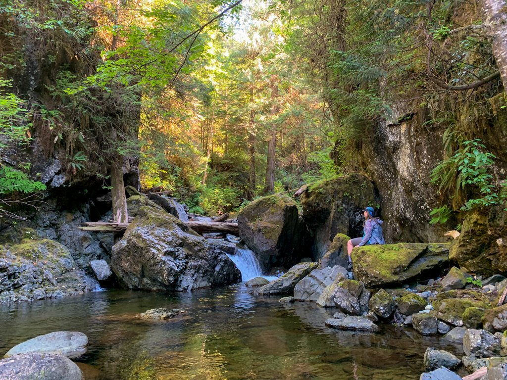 A hiker sits next to a creek in the rainforest on Vancouver Island